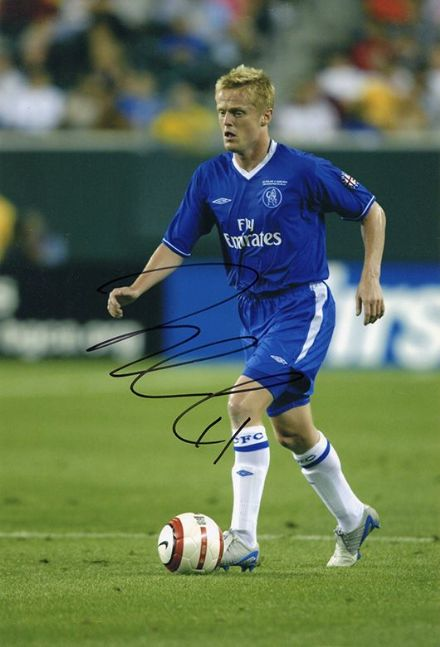 Damien Duff, Chelsea, signed 12x8 inch photo.